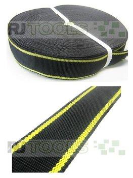 Band - 50 mm - zwart met gele strepen