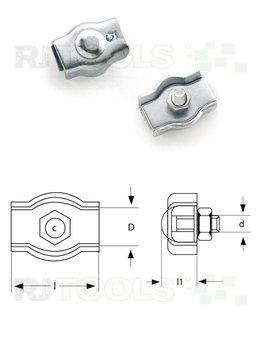 Simplex klem enkel 2 mm verzinkt