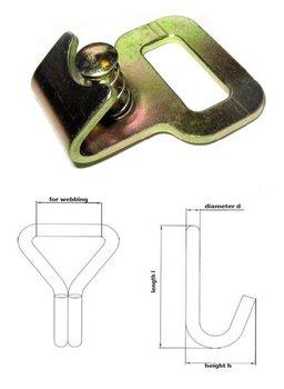 Haak vlak met zekering - 25 mm