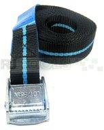 Spanbandje - 2.5 meter - zwart / blauw